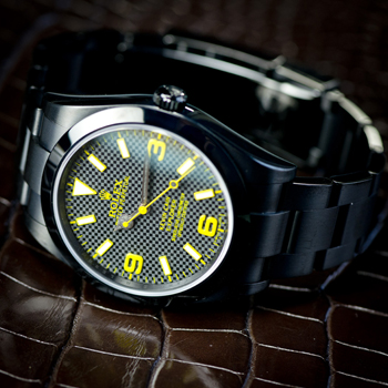 Rolex Explorer I ADLC Custom Label Noir Design